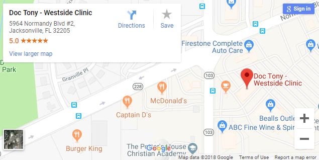 Map of Westside Jacksonville Chiropractors